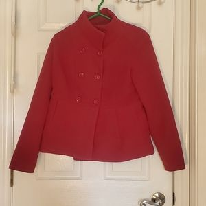 Women's Large Dark Red Button Up Pea Coat